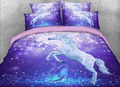 Teen Bedding Sets, Purple Bedding Sets, Comforter Sets, Horse Themed Bedrooms, Bedroom Themes, Home Decor Bedroom, Bedroom Ideas, Cool Kids Bedrooms, Girls Bedroom