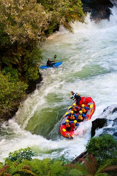 Whitewater rafting  ~ on the Kaituna River, near Rotorua on the north island of New Zealand.