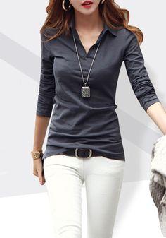 Dark Grey Plain Turndown Collar V-neck Long Sleeve Slim Office Cotton T-Shirt - T-Shirts - Tops