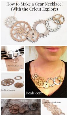 How to Make a Gear Statement Necklace without real gears!  (Use the Cricut Explore to save money and make a look alike!) #cricut #gearnecklace #steampunk
