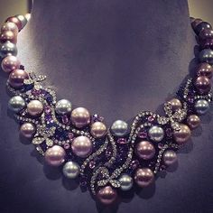 """jewellerythroughtime: """" #Repost @yokolondonpearls via @vo_plus Aphrodite, an exquisite necklace by Yoko London: 18k black gold with 8.45kt diamonds, 3.59kt sapphires, 4.42kt pink sapphires, 3.99kt amethyst & natural color Tahitian & radiant Orchid..."""