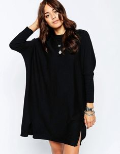 ASOS Tunic Dress With Crew Neck In Cashmere Mix - Shop for women's Dress - Black