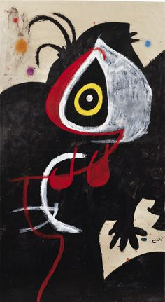 JOÁN MIRÓ 1893 - 1983 PERSONNAGE, OISEAU signed Miró (lower right) oil, gouache and pastel on paper 141.6 by 77.3 cm ; 55 3/4 by 30 3/8 in. Executed in 1976. Estimate 1,000,000 — 1,500,000 EUR
