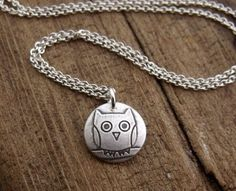 Owl necklace  silver  tiny by lulubugjewelry on Etsy,
