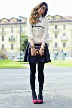 Bonjour  #Sweaters #Tights #Skirts
