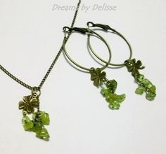 Shamrock Brass and Peridot Earring and Necklace Set