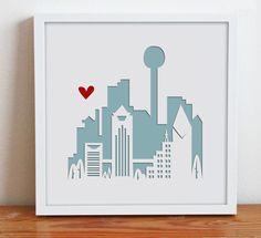 Dallas, Texas.  Personalized Gift or Wedding Gift. $28.00, via Etsy.