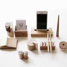 Celebrate Avant-Garde Russian Architecture With This Wood Desk Set : Icons of Soviet-era architecture inspired this oak desk set from Russian designers Desk Organization Diy, Diy Desk, Wood Projects, Woodworking Projects, Gift For Architect, Desk Tidy, Tape Dispenser, Wooden Desk, Desk Set