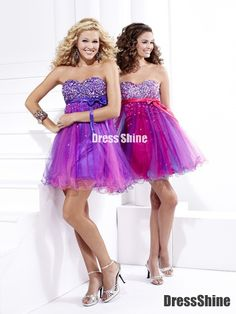 Tulle and Beadings Mini-Length Homecoming Dresses - HomeComing Dresses - Homecoming   Cocktail   Party