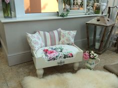 Cream and Cath Kidston Stripe and Floral Pet Bed