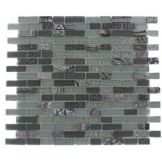 Splashback Tile, Paris Rain Blend Brick Marble and Glass 12 in. x 12 in. x 8 mm Mosaic Floor and Wall Tile, Sold by the Square Foot, PARIS RAIN BLEND BRICK at The Home Depot - Tablet
