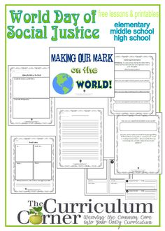 World Day of Social Justice lessons and printables for elementary, middle school and high school classrooms, free from The Curriculum Corner