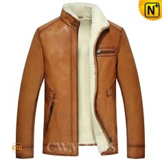 CWMALLS Men s Shearling Lined Leather Jacket CW857070 Winter shearling  lined leather jacket for men with smooth 14dd3dcdd