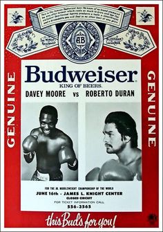 Vintage ROBERTO DURAN vs. DAVEY MOORE closed circuit poster History Magazine, 3 In One, Covered Boxes, Circuit, Abs, Baseball Cards, World, Sports, Movie Posters