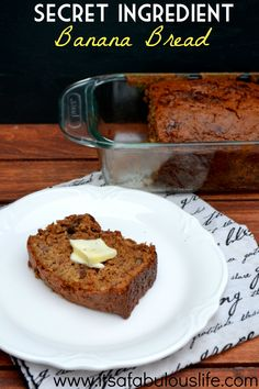 Secret Ingredient Banana Bread.  You won't believe the key ingredient to the world's best (and most moist!) banana bread!