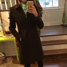 J. Crew double cloth lady day coat Brown. Good condition. One tear in the lining of the left arm. Very warm and not bulky. J. Crew Jackets & Coats