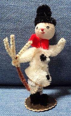 "RARE Vtg Christmas Snowman Japan Chenille Pipe Cleaner Cotton Spun Head 3 1 4"" T | eBay"