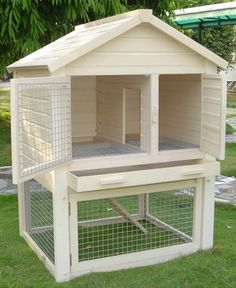 Collection of 1600 Woodworking Plans - CUTE! But needs a floor on the bottom so it could be inside. (Huntington Townhouse Rabbit Hutch by NewAgePet) Get A Lifetime Of Project Ideas and Inspiration! Rabbit Hutch Plans, Rabbit Hutches, Outdoor Rabbit Hutch, Bunny Cages, Rabbit Cages, Raising Rabbits, Pet Cage, Pet Rabbit, Wood Plans