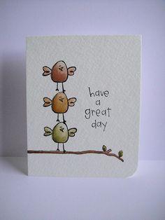 Purple Onion Designs and Donna Mikasa (three umbrellas). 3 little birds! Fingerprint Art, Art Carte, Karten Diy, Bird Cards, Watercolor Cards, Watercolour, Cute Cards, Homemade Cards, Hand Lettering
