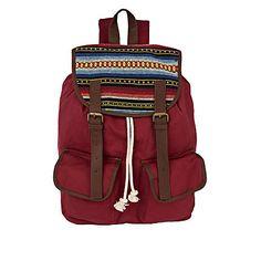 red stripe flap rucksack