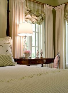 sage green color Green Bedrooms, Bedroom Green, Dream Bedroom, Home Bedroom, Master Bedroom, Pretty Bedroom, Alamo Heights, Check Curtains, Drapes Curtains