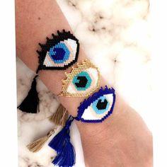 Miyuki Eye Bracelet - Evil Eye Bracelet - Protection Bracelet - Gift For Her - Turquoise Bracelet adjustable- Miyuki Bracelet - Handcrafted by PathysDesigns on Etsy Beaded Earrings, Beaded Jewelry, Beaded Bracelets, Beaded Crafts, Evil Eye Bracelet, Adjustable Bracelet, Loom Beading, Turquoise Bracelet, Gifts For Her