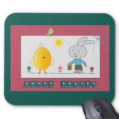 A Cheerful Easter, Cute Chicken and Bunny Mousepad  http://www.zazzle.com/a_cheerful_easter_cute_chicken_and_bunny_mousepad-144102530821322981