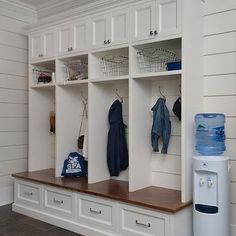 Individual Mudroom Lockers, Transitional, Laundry Room, Blue Water Home Builders