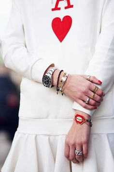 red and white and some bling
