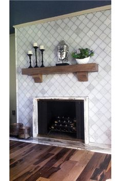 Floor To Ceiling Glass Tile Fireplace Surround