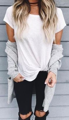 #fall #outfits women's white cap-sleeved shirt with grey cardigan and black pants outfit