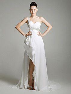 Chiffon Column One Shoulder Sweep Train Evening Dress inspir... – USD $ 179.99  nice