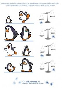 Weeg de pinguïns, kleuteridee.nl, thema Noordpool & Zuidpool, free printable