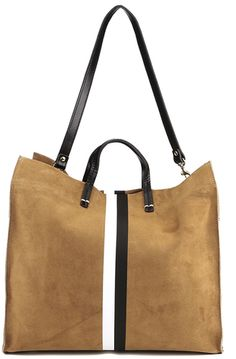 Clare V. Women's Supreme Simple Tote Bag Camel Suede With Black/White Stripes