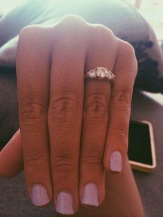 Three stone diamond engagement ring. Wish it was rose gold!!! Love the setting.