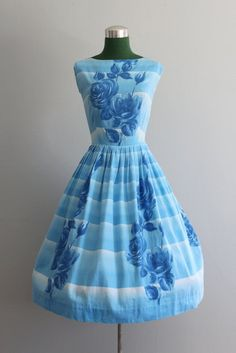 Vintage Dress / 1950s Party Dress / 50s Blue by HolliePoint