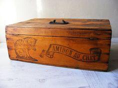 Authentic French Antique soap wooden box,cat decor,1930.