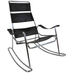 Mid-Century Modern Wassily Style Leather Strap and Chrome Rocking Chair   From a unique collection of antique and modern rocking chairs at https://www.1stdibs.com/furniture/seating/rocking-chairs/