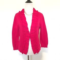 Tabitha Anthropologie Fuchsia Ruffle Front Cardi Tabitha by Anthropologie fuchsia ruffle front cardigan. One hook closure in front. Size large. Fits TTS. 100% cotton. Pilling under arms as seen in last pic. Can be removed easily. Otherwise in great condition. ❌ NO TRADES ❌ NO PP❌ NO LOWBALLING ❌ Anthropologie Sweaters Cardigans