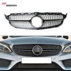 Mercedes W205 ABS Plastic Front Diamond Grill Grille for Benz 2015 2016 Sports Edition Black