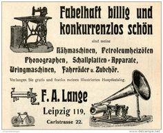 Original-Werbung/Inserat/ Anzeige 1905 : LANGE LEIPZIG/NÄHMASCHINEN/SCHALLPLATTEN-APPARATE/FAHRRÄDER - ca. 80 X 90 mm