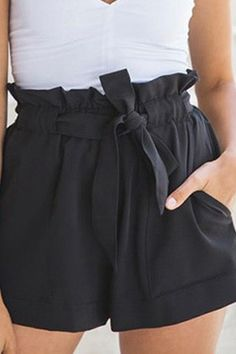 54db1c6c7a Black Ruffle Design Waist Tie Chiffon Shorts @ Womens Shorts-Short Shorts,Denim  Shorts,High Waisted Shorts,Short Jeans,Floral Shorts,High Waisted denim ...