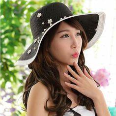 27a80dd0 Black and white floppy sun hats UV ladies flower beach straw hat. Mens Summer  HatsFishing ...