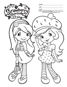 Strawberry Shortcake Coloring Pages Printable (Black & White)
