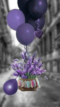 Purple balloons and flowers, oh my Best Birthday Quotes, Birthday Wishes And Images, Birthday Wishes Cards, Happy Birthday Messages, Happy Birthday Greetings, Birthday Pictures, Wishes Images, Purple Balloons, Happy Birthday Flower