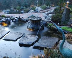 stone steps, pond, watergarden