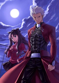 Fate/Stay Night ~ Rin and Archer Guess The Anime, I Love Anime, Awesome Anime, Me Me Me Anime, Anime Guys, Fate Zero, Tan Guys, Guys And Girls, Boys