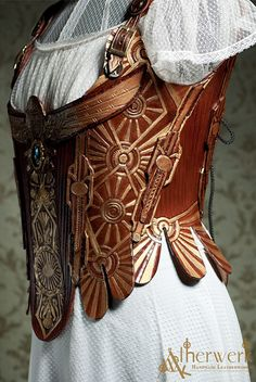 Corset design - medieval setting, possibly steampunk AU Steampunk Corset, Steampunk Cosplay, Victorian Steampunk, Steampunk Clothing, Steampunk Fashion, Gothic, Leather Armor, Leather Corset, Tooled Leather