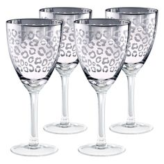 Leopard Silver Wine Glasses.