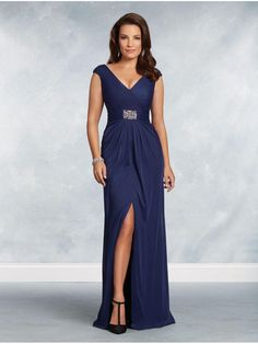 Sheath/Column V-Neck Long Mother of The Bride Dresses 907028